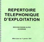 Le répertoire téléphonique d'exploitation de Rhône Alpes Auvergne en1997